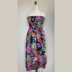 Smocked Tropical Floral Sun Dress Hi Low Maxi NWT
